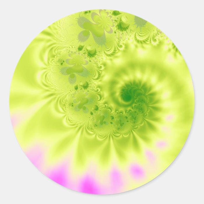 Transience · Fractal Art · Green & Pink Classic Round Sticker