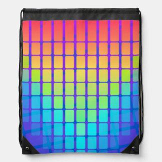 Transitioning Rainbow Rectangles Drawstring Backpack