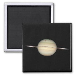 Tránsito cuádruple de la luna de Saturn Imán Cuadrado