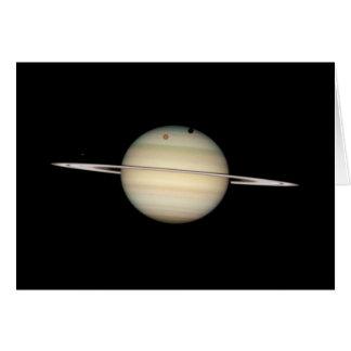 Tránsito cuádruple de la luna de Saturn Tarjeta De Felicitación