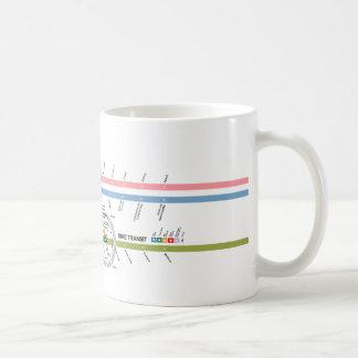 Tránsito de la bici taza de café