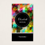 Translator- Colorful Mosaic Pattern Business Card