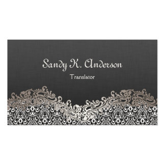 Translator - Elegant Damask Lace Business Card Template
