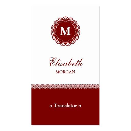 Translator - Elegant Red Lace Monogram Business Card Templates