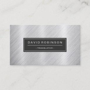 Translation business cards templates zazzle translator modern brushed metal look business card colourmoves