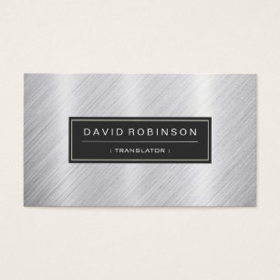 Japanese translation business cards templates zazzle translator modern brushed metal look business card reheart Gallery