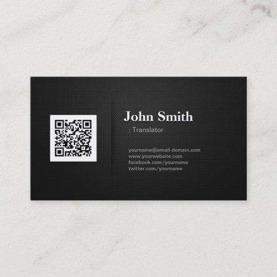 Translator Premium Black Qr Code Business Card