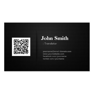 Translator - Premium Black QR Code Double-Sided Standard Business Cards (Pack Of 100)