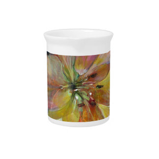 """""""Translucence"""" Flower Painting Drink Pitcher"""