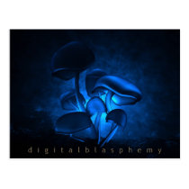 lily, avatar, pandora, glowing, night, bioluminescent, mushrooms, translucence, fluorescence, Postcard with custom graphic design