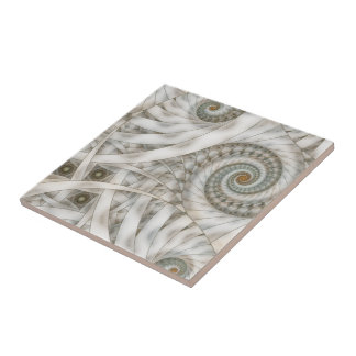 """""""Translucency"""" Pastel Green Spiral Fractal Ceramic Tile"""