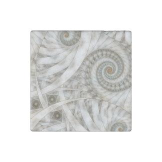 """""""Translucency"""" Pastel Green Spiral Fractal Stone Magnet"""