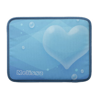 Translucent Blue Heart & Bubbles Water Gradation MacBook Sleeves