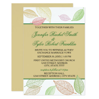 Translucent Fall Leaves - 3X5 Wedding/Reception Card