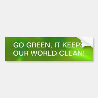 Translucent green car bumper sticker