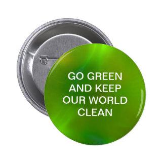 Translucent green pinback button