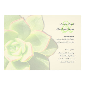 Translucent Green Succulent Wedding Invitation