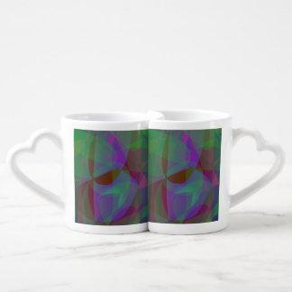 Translucent Layers Dark Green Abstract Couples' Coffee Mug Set