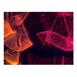 Translucent red-orange wisps postcard