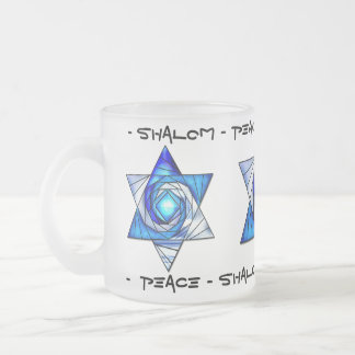 Translucent Stained Glass Star of David Frosted Glass Coffee Mug