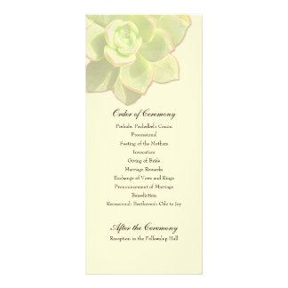Translucent Succulent Cream Wedding Program Personalized Rack Card