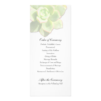 Translucent Succulent White Wedding Program