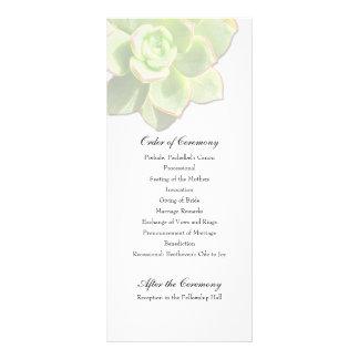 Translucent Succulent White Wedding Program Custom Rack Card