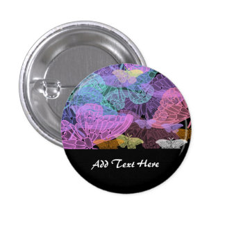 Transluscent Butterflies Abstract Art Button
