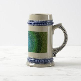 Transluscent flowes rainbow design clover beer stein