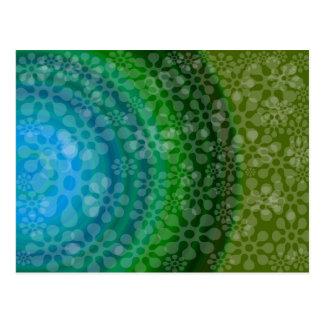 Transluscent flowes rainbow design clover postcard