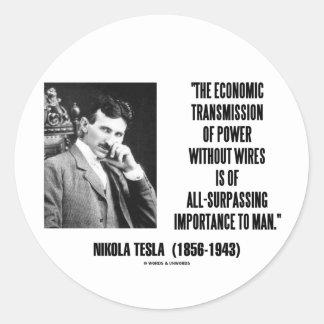 Transmisión económica de Nikola Tesla del poder Pegatina Redonda