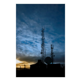 transmission tower on Knockanore hill at dusk Poster