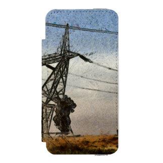 Transmission tower wallet case for iPhone SE/5/5s