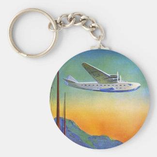 Transpacific Travel Artwork Button Keychain