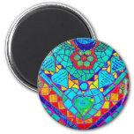 transparant rainbow reverse mosaic refrigerator magnet