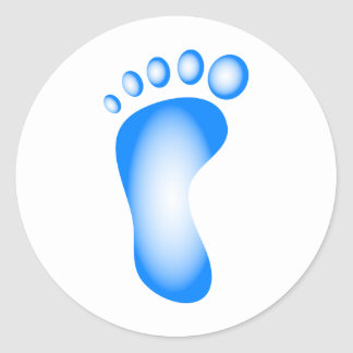 Transparent Blue Foot Classic Round Sticker