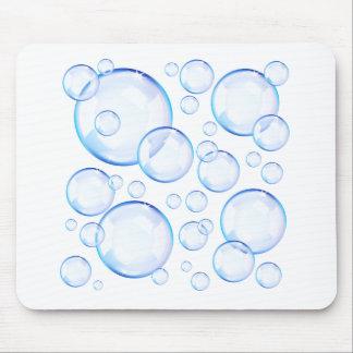 Transparent blue soap bubbles mouse pad