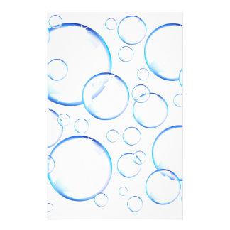 Transparent blue soap bubbles stationery