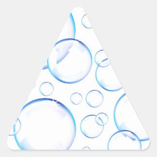 Transparent blue soap bubbles triangle sticker