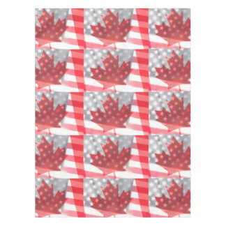 Transparent Canada and USA flags Tablecloth