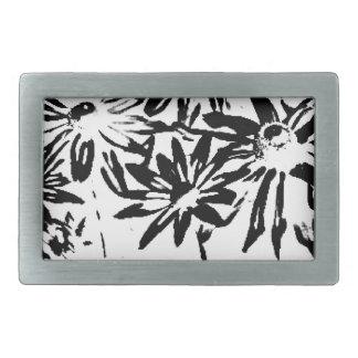 Transparent flowers rectangular belt buckle