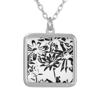Transparent flowers silver plated necklace