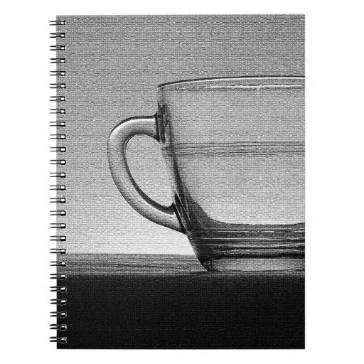 Transparent glass cup backlit note book