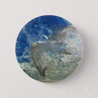 Transparent Gull and Clouds Modern Art Design Button