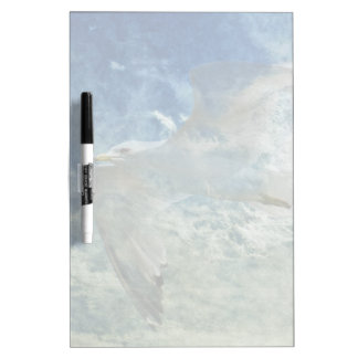 Transparent Gull and Clouds Modern Art Design Dry-Erase Whiteboards