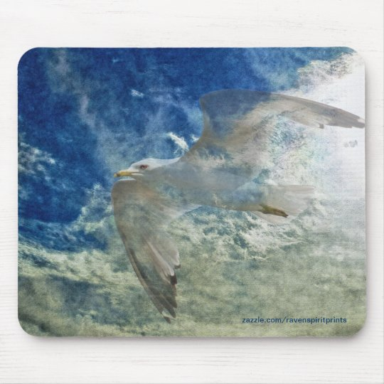 Transparent Gull and Clouds Modern Art Design Mouse Pad