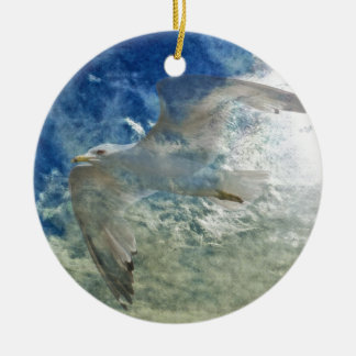 Transparent Gull and Clouds Modern Art Design Ornaments