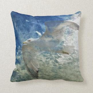 Transparent Gull and Clouds Modern Art Design Pillows
