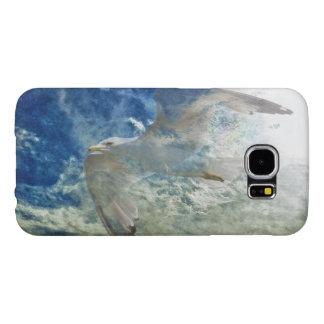 Transparent Gull and Clouds Modern Art Design Samsung Galaxy S6 Cases