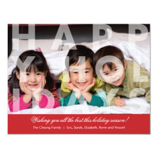 Transparent Happy Holidays Greeting in Red 4.25x5.5 Paper Invitation Card